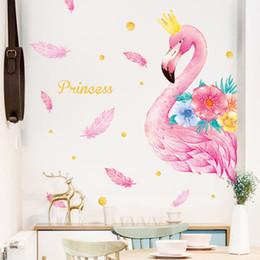 $enCountryForm.capitalKeyWord Australia - Pink Flamingo Unicorn Wall Stickers for Kids Rooms Living Room Bedroom Decor Cartoon Animal Wall Sticker Decals Room Decor
