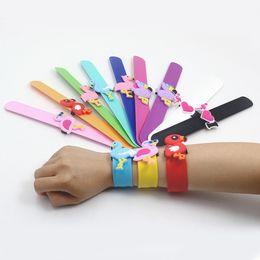 Wear Bracelet Australia - Kids Jewellery PVC Bracelets Papa Wristband Ins Flamingo Wristband Silicone Slap Birthday Party Favors Kids Party Wearing Kits