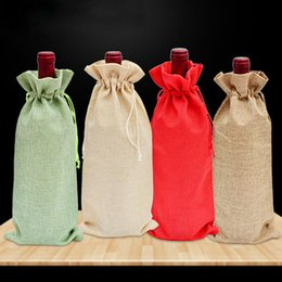 Decorating glass bottles online shopping - Jute Durable Wine Bags Red Wine Bottle Glass Bag Wine Packaging Gift Bags Reusable Drawstring Travel Gifts Pouch Weddings Decorate BH2505 CY