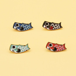 beautiful ladies clothes Canada - Cute Carp brooch Fashionable and beautiful lady creative alloy enamel badge Fashion clothes knapsack scarf decorative pin