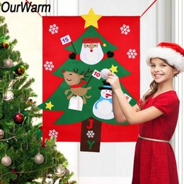 outdoor christmas games Australia - OurWarm Felt Christmas Tree Hanging Snowman Santa Claus Outdoor Kids Gift Toss Game Christmas New Year Party Decoration 130x97cm
