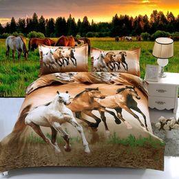 Horse Bedding Sets Queen NZ - hot 3d animal bedding set queen full twin size 3 pcs horse duvet cover pillow cases boys bedclothes