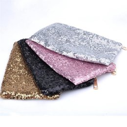 $enCountryForm.capitalKeyWord NZ - Bling Sequins Women Cosmetic Makeup Bag Female Glitter Evening Clutch Bags For Party Envelope Makeup Hand Bags Pouch