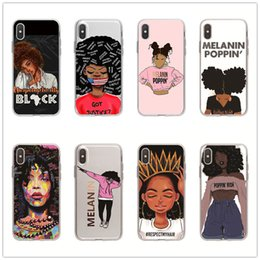 iphone girl silver case Australia - For Iphone 11 Pro Phone Case Xs Max Xr Cartoon Black Girl 6 7 8 X Plus Transparent TPU Soft Cell Phone Cases