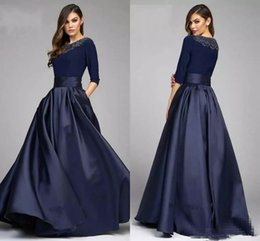 Line navy bLue mother bride dress online shopping - Vintage Navy A Line Mother of the Bride Dresses With Half Sleeves Beaded Long Formal Evening Gowns Custom Made Mother s Dress