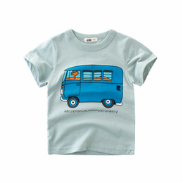 Summer Boys T Shirts Patterns Australia - 2019 Cotton Boys Short-sleeved T-shirt Summer Bus Pattern Children's Sweatshirt Half Sleeve Summer Baby Children's Clothing