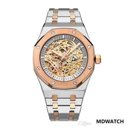 analog gear Australia - Mens Automatic Mechanical Watch Stainless Steel Rose Gold Silver Watches Hollow Gear 43mm Large Size Heavy Business wristwatches Wholesale