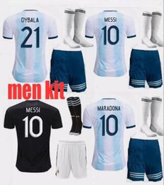 Wholesale Argentina Gold cup soccer jersey MEN KIT MESSI DYBALA Argentina home Away AGUERO DI MARIA HIGUAIN football shirts ADULT KIT