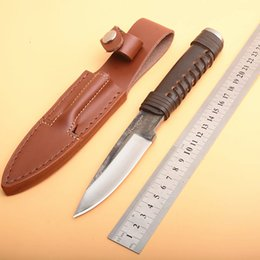 $enCountryForm.capitalKeyWord Australia - On Sale! Survival Straight Hunting Knife High Carbon Steel Drop Point Hand Forged Blade Full Tang Leather Handle With Leather Sheath