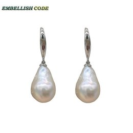 $enCountryForm.capitalKeyWord Australia - Special Normal Size Baroque Pearl Nucleate Stely Hooking Earring Flame Ball Shape White Natural Freshwater 925 Sterling Silver Y19050901