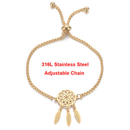 $enCountryForm.capitalKeyWord Australia - Gold Dreamcatcher Bracelet 316L Stainless Steel Adjustable Slider Stopper Box Chain Dream Catcher Jewelry Girlfriend Gift