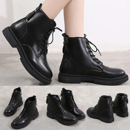 womens ankle boots zipper 2019 - Punk Waterproof Ankle Leather Boots Platform Thick Sole Womens Non-slip Round Toe Double Zipper Low-heeled Shoes Ankle B