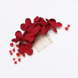 Hairpin Wedding Bridal Hair Clips Australia - 1 Pcs Fashion Bridal Clips Wedding Bridesmaid Tiara Red Flower Hair Clip Hairpin Combs Jewelry Accessories Beautiful Barrettes