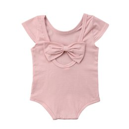 $enCountryForm.capitalKeyWord UK - Summer Newborn Baby Girls Back Bowknot Solid Romper Sunsuit Jumpsuit Outfits