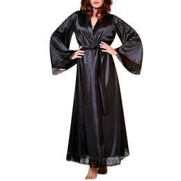 864ef636d0 Women Robes 2019 New Hot Sale Sexy Long Silk Kimono Dressing Gown Bath Robe  Babydoll Lingerie Nightdress