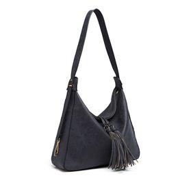 Miss Lulu Women Tassel Handbags Hobo Shoulder Bags Ladies Fashion  Top-handle Bag Navy Soft Synthetic Leather Totes LT6854 724d0532f3641