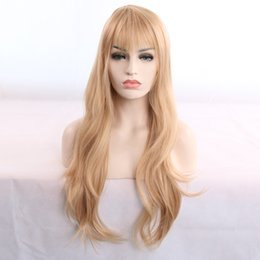 $enCountryForm.capitalKeyWord Australia - Hot selling sexy fashion women long hair wig 24 inch blonde kinky straight wigs 100% synthetic hair with weaving cap free shipping