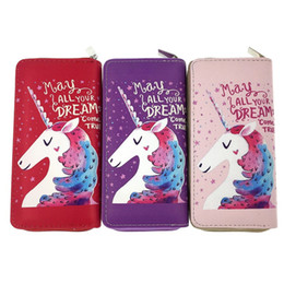 Ladies Wallets Purses Handbags Australia - New Fashion Girls Coin Purses Cartoon unicorn Animal Printing female purse lady PU Handbag wallets ST340