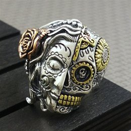 male finger rings Australia - 2019 New Punk Vintage Double-sided Face Skull Male Finger Rings European Fashion Men Signet Rings Anel Anillos Anelli Bisuteria