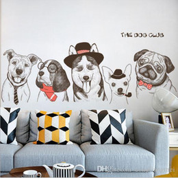 modern house art 2019 - cartoon animal dog Wall Sticker Removable Double Sided Visual Pattern Home Decoration House Wallpaper free shipping wn63
