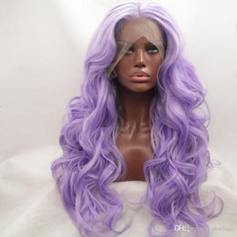 $enCountryForm.capitalKeyWord NZ - Middle Part Purple Lace Front Wigs Synthetic Cheap Long Wavy Heat Resistant Fiber Romantic Lavender Purple Synthetic Wig For Women