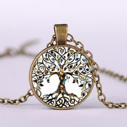 Glasses Trade Australia - Life Tree of European and American Foreign Trade Jewelry Time Jewelry Necklace Wholesale DIY Alloy Glass Pendant Necklace Wholesale