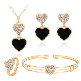 $enCountryForm.capitalKeyWord UK - HC Vintage Enamel Black Heart Pendant Girl Kid Necklace Set Cute Loving Heart Earrings Crystal Necklace Children Jewelry Sets T