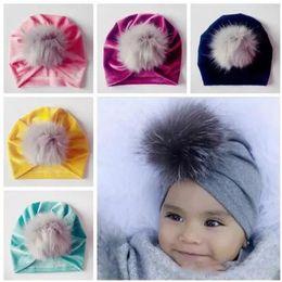 $enCountryForm.capitalKeyWord Australia - 2018 kids fall winter hats wholesale christmas fur pom poms hat baby velvet beanies bonnet girls indians muslim turban skull cap accessories