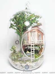 doll toy glasses Australia - SC02 DIY Glass Ball Doll House Wooden Mini jungle dollhouse Miniature gift toy MX200414