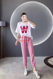 zipper plaid t shirt NZ - 2019 Summer Women two piece outfits female Tracksuit Sequin letter decal short sleeve t-shirt+casual elastic pants women clothes LE-4