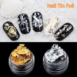 Discount gold flakes wholesale - 1 Box Gold Silver Glitter DIY Nail Foil Sticker Gel Adhesive Glue Image Transfer Paillette Flake Full Cover Decal Decor