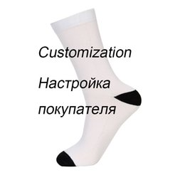 851fc2482e9 Customized funny cotton Socks men your own design pattern crew Mid tube socks  winter thermal dress sox gifts for male a pair set