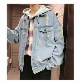mens collared shirts denim collar NZ - Mens Designer Denim Shirt Man Vintage Luxury Jeans Fashionable Brand Coat New Spring Autumn Stand Collar Jacket Outwear Clothing Wholesale
