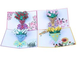 China 3D greeting card rose bouquet holding flowers three-dimensional greeting card handmade greeting card cheap three dimensional christmas cards suppliers