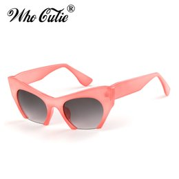 Discount ce sunglasses - WHO CUTIE 2018 Women Cat Eye Sunglasses Brand Designer Female oversize cat eye Pink Leopard Sun Glasses CE Lens Shades O