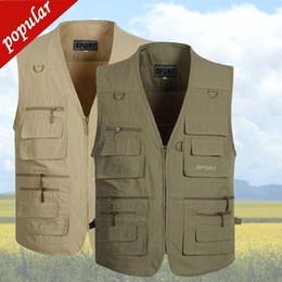 $enCountryForm.capitalKeyWord Australia - 3xl 4xl 5xl Spring Summer Men Plus Size Casual Vests Male Multi-pockets Waistcoats Outdoors Photography Thin Vest D150
