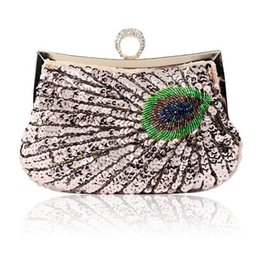 knuckle clutches NZ - Luxury Knuckle Rings Evening Bag Peacock Lady Day Clutch Paillee Clutches Bridal Party Bags Women Sequined Beading Handbag