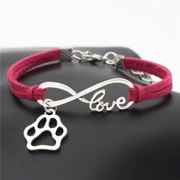 $enCountryForm.capitalKeyWord Australia - New Fashion Antique Silver Love Pet Footprint Dog Paw Pendant Infinity Charm Rose Red Leather Suede Bracelets Cats Dogs Lover Gifts Jewelry