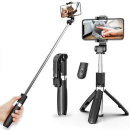 All-in-one Bluetooth Selfie Stick with Tripod Plastic Alloy Self Stick Selfiestick Phone Smartphone Selfie-Stick 4 Colors on Sale