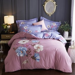 pink floral king size bedding set NZ - Floral Print Pink Bedding Set 4pcs Queen King Size Duvet Cover Bed Sheet Pillowcase Winter Brushed Cotton Fabric