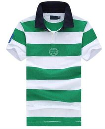 polo big horse UK - Fashion Men Striped Polo Shirts Big Horse Embroidery Short Sleeve Male Cotton Casual Men Classic T-shirt Size S-2XL Tops Camisa Green