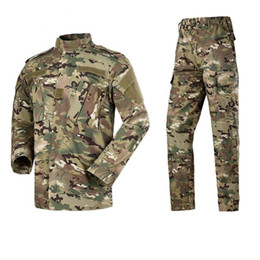 army camouflage uniform men Australia - Multicam Camouflage Adult Male Security Uniform Tactical Combat Jacket SWAT Special Force Training Army Suit Cargo Pant