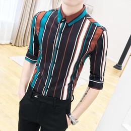 Stage Shirts NZ - Half sleeve Hawaiian Shirt Male Stripe Shirt for Men Social Beach leisure style Stage Blouse Man Camisa masculina Summer
