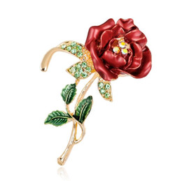 flower corsage brooch UK - 2019 Enamel Rose Flower Brooches Female Hijab Pin Corsage Brooch for Women Wedding Dress Badge Accessories Jewelry