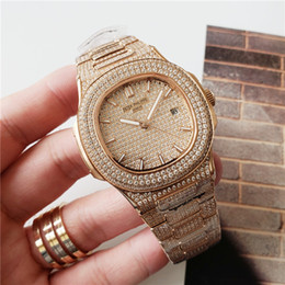 Wholesale Diamond Watch Automatic Movement Waterproof Watch Man mm Stainless Sweep Move Set Diamond Iced Out Watch
