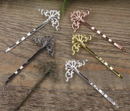flower hair clip vintage Australia - 40pcs 55*16*28mm Metal bobby pin vintage flower hairpin rose gold silver hairclip antique bronze hair clip barrettes diy jewelry