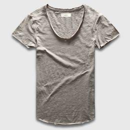 $enCountryForm.capitalKeyWord Australia - Zecmos Plain Basic Top Tees Men Casual Deep V Scoop Neck T-Shirt Male Slim Fit T Shirt Luxury Curved Hem Navy Tee Muscle