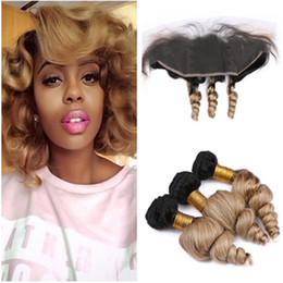 $enCountryForm.capitalKeyWord Australia - #1B 27 Honey Blonde Ombre Loose Wave Malaysian Hair Weaves with Frontal Blonde Ombre Human Hair 3Bundles with Lace Frontal Closure 13x4