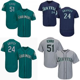 3a0d8102b76 Mariners Seattle Jersey 51 Ichiro Suzuki 24 Ken Griffey Mens Black Green  White Men Baseball Jerseys