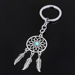 $enCountryForm.capitalKeyWord Australia - 2016 Fashion Dream Catcher Tone Key Chain Silver Ring Feather Tassels Keyring Keychain For Gift Free Shipping